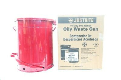 Justrite 09700 21gal Red Oily Waste Can W/ Foot