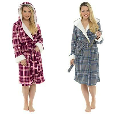 Ladies Check Print Hooded Fleece Robe / Dressing Gown with Sherpa Trim ~ UK 8-22