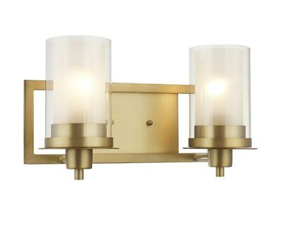 Designers Impressions Juno Brushed Brass 2 light wall Sconce Bathroom Fixture