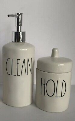New Rae Dunn -Set Of 2 Bath Set CLEAN Soap Pump &HOLD  Canister HTF!