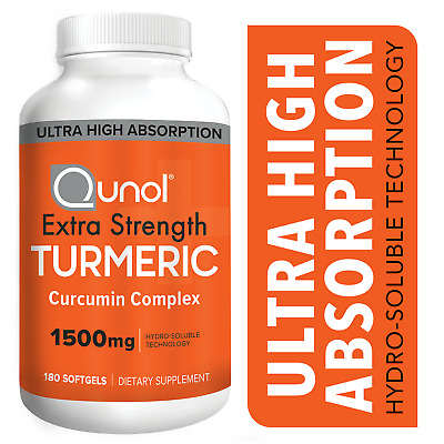 Turmeric Curcumin 1500 mg Qunol Ultra High Absorption Max Strength 180 Softgels