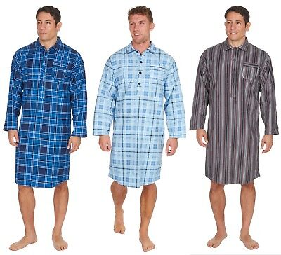 Cargo Bay Mens 100% Cotton Check or Stripe Print Flannel Nightshirt