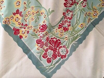 "Vintage Tablecloth Beautiful Yellow/Red FlowersTeal & Aqua scallop 70""x 60"""