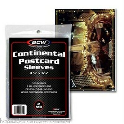 500 BCW Continental Postcard Poly Sleeves for Larger Postcards