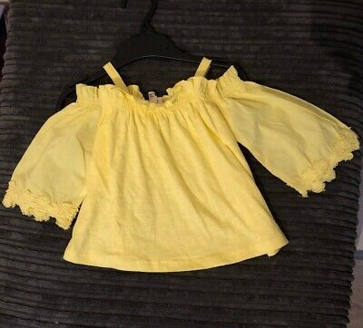Girls River Island Yellow Blouse Top 6-9 Months