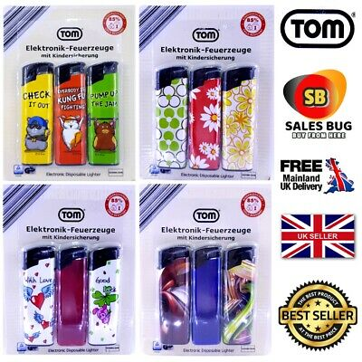 Tom Electronic Disposable Lighter Pack Of 3 Child resist