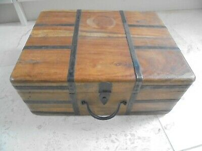 Vintage artists storage case with handle, portable box, metal bound with clasp