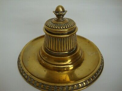 Victorian Brass Inkwell with Liner