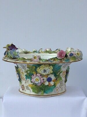 19th Century Victorian antique moulded floral ceramic bowl - Chelsea style
