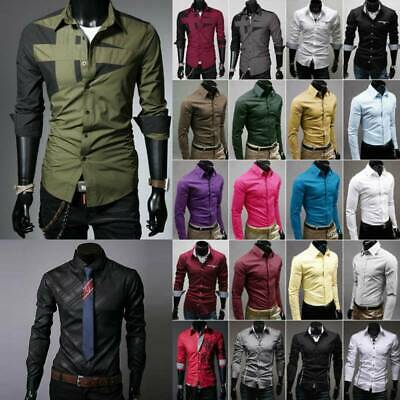 Mens Formal Dress Shirts Long Sleeve Slim Fit Business Casual Wedding Blouse Top