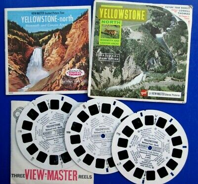 View Master 3 Reels Set Yellowstone North Mammoth Canyon w/Booklet Envelope A309