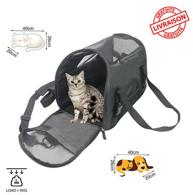 Sac Transport Chat Chien Main Epaule Respirant Voyage Confort Animaux Compagnie
