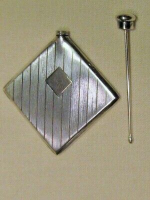 Vintage Watrous #402 Sterling Silver Small Flat Square Deco Perfume Flask Bottle
