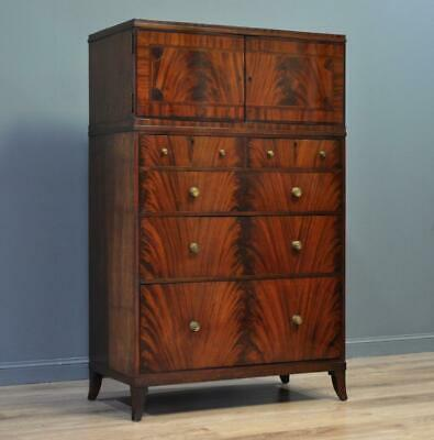 Attractive Large Tall Antique Inlaid Flame Mahogany Chest Of Drawers Tallboy