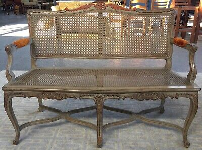 Antique Carved French Provincial Bench with Cane