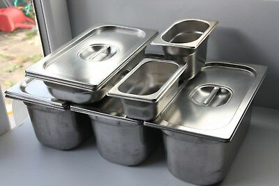 6x Gastronorm Container / Bain Marie Pot/Food: 4x 1/3 (325×176), 2x 1/9 (108×176