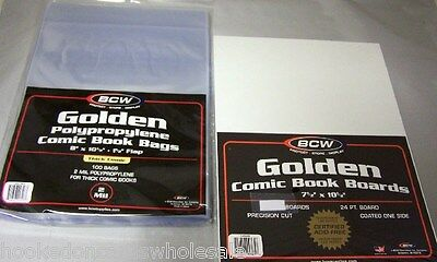 "100 Each BCW Brand 8"" Golden Age Thick Comic Bags & Backer Backing Boards"