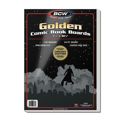"""1 Pack 100 BCW Brand Golden Age 7 1/2"""" Comic Book Storage Backing Backer Boards"""