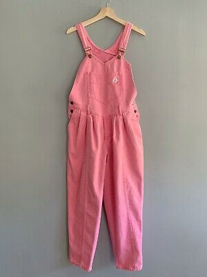 Vintage Women's Size Large | Guess | Pink Bib Long Pleated Denim Overalls