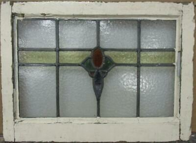 "OLD ENGLISH LEADED STAINED GLASS WINDOW Abstract Band Design 22.25"" x 16.25"""