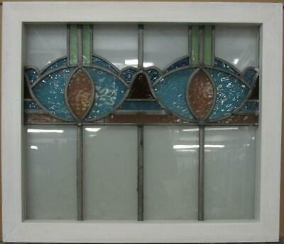 "MIDSIZE OLD ENGLISH LEADED STAINED GLASS WINDOW Pretty Abstract 24.25"" x 20.75"""