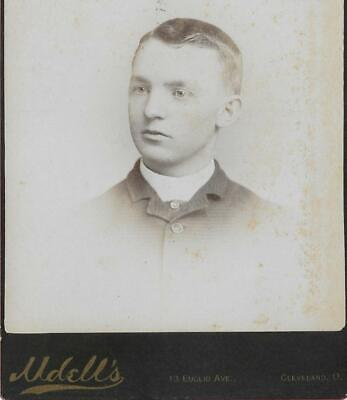 Cabinet Card Photo Cab95 Young Man W/ Baby Face Posing - Udell's- Cleveland, Oh