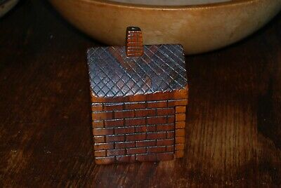Vintage/Antique - Folk Art - Wood Carved House Box -  Hinged Door/One Piece Wood