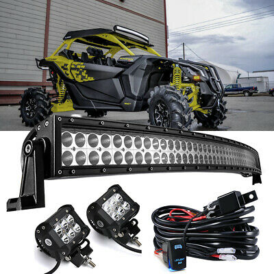 "Fit Can-Am Maverick X3 DS 2017-Up 50/""Inch Curved LED Bar 2x Cube Pods Wiring"