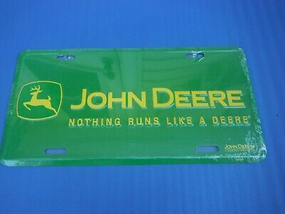 John Deere Wrapped Metal Front Booster License Plate Tag