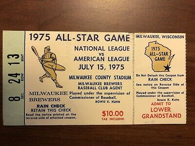 1975/Mlb All-Star Game Ticket Stub @ Milwaukee Brewers/Hank Aaron Final