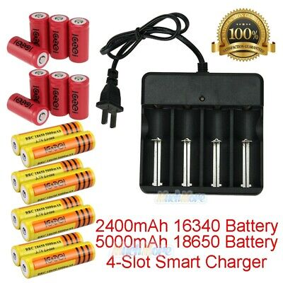 18650/16340 Battery 5000mAh Li-ion 3.7V Rechargeable+Charger For LED Flashlight