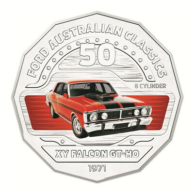 Australia 2017 Ford Classics XY Falcon GTHO Phase III 50c Cents UNC Coin Carded