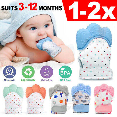 1/2X Silicone infants baby teething Teether glove mitten chew dummy toys BPA