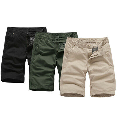 Mens Chino Shorts Cotton Summer Casual Cargo Combat Pants Slim Fit Half Trousers