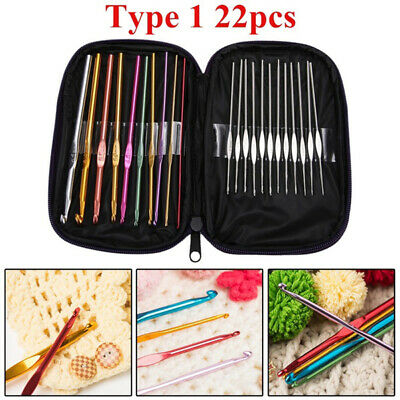 22pcs  Aluminum Crochet Hooks Needles Knit Multi Color Weave Craft Yarn Set