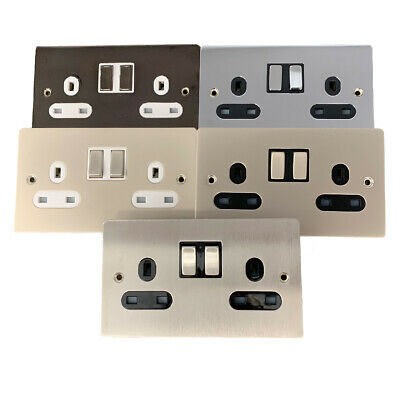 Double Wall Plug Socket Switched 13A 2Gang Metal Finishes Black White Inserts