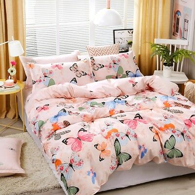 Butterfly Floral Doona Quilt Duvet Cover Set Single Double Queen King Size Bed