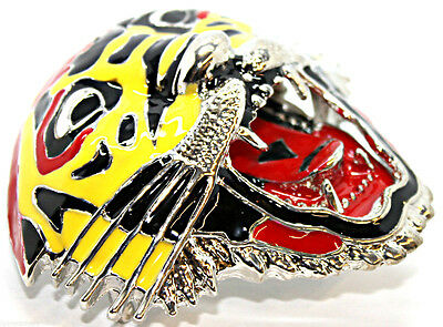 Buckle Rock Punk Belt Yellow Red Tiger Leopard