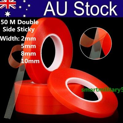 50M Double-sided Heat Resistant Adhesive Transparent Clear Tape Acrylic Tape NEW