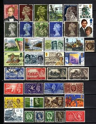 836-INTERESTING LOT of USED STAMPS from ENGLAND.LOTE de Sellos USADOS INGLATERRA