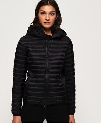New Womens Superdry Core Down Hooded Jacket Black