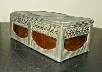 Antique French Wood & Pewter~Tin Metal Pierced Directoire? Box~Casket