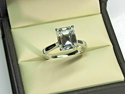 1.50Ct Emerald Cut Moissanite Ring Solid 14K White Gold Engagement Ring