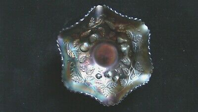 """Antique Northwood Amethyst Carnival Glass Fruits & Flowers 6¼"""" Berry Bowl"""