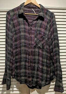 Free People Womens Medium Button Long Sleeve Plaid Flannel Shirt SOFT Oversized