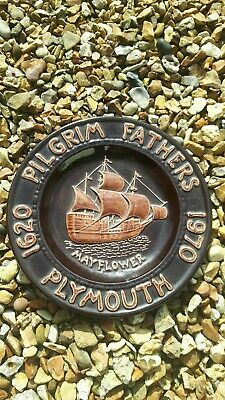 The Pilgrim Fathers Centenary Plate Of The Mayflower Sailing  1620 To 1970