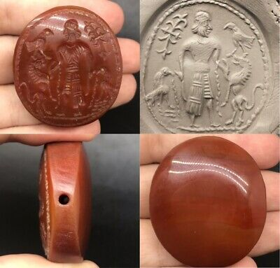 Wonderful ancient old Agate king intaglio with bird and horse lovely bead