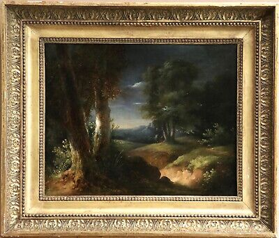 Charles Lemercier (1795-1859) Signed French Oil On Canvas  Figures In Forest