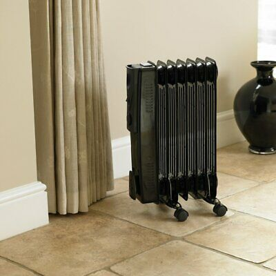 Black Oil Filled Radiator 7 Fin 1500W Portable Electric Heater Space Slim Line