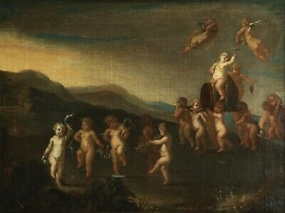 17th CENTURY LARGE DUTCH OLD MASTER OIL ON CANVAS - THE FEAST OF BACCHUS